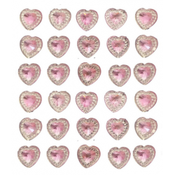 40 Pink Self Adhesive Acrylic Hearts / Embossed Mini Crystals 12mm x 17 mm