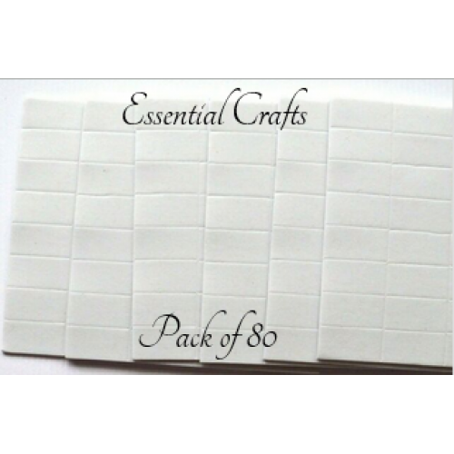 Essential Crafts Double Sided Foam Pads 80 Per Pack 25mm x 12mm x 2mm