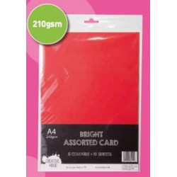 A4 Bright Card Pack - 210gsm 10 Sheets 5 Colours.