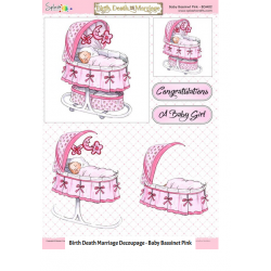Non Die Cut Decoupage - Baby Bassinet Pink