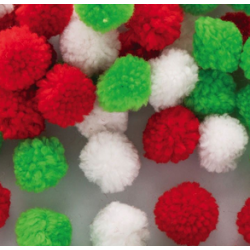 Christmas Woolly Pom Poms pack of 15