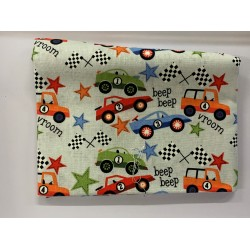 Cars & Trucks Rally on white Backround Fat Quarter 100% Cotton Fabric