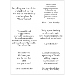 Easy Peel Self Adhesive Birthday Verses 4 ( no images ) by Essential Crafts