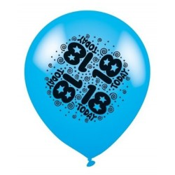 18 Today Blue - Latex Balloons Pack of 8