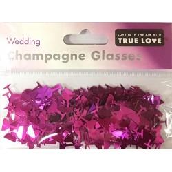 Wedding Champagne Glasses Confetti - Cerise