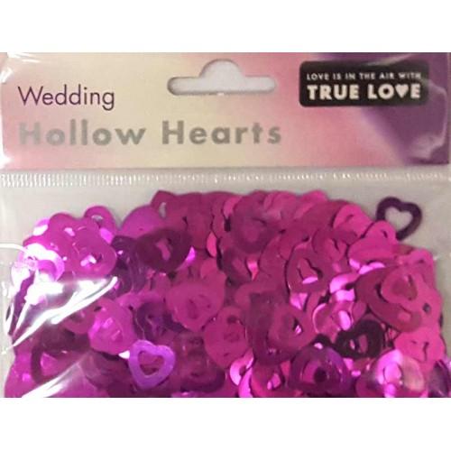 Wedding Hollow Hearts Confetti - Cerise