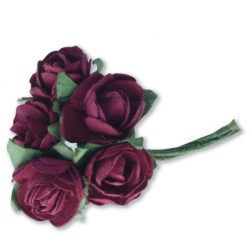 Tea Roses Mini - Burgundy- Bunch of 12