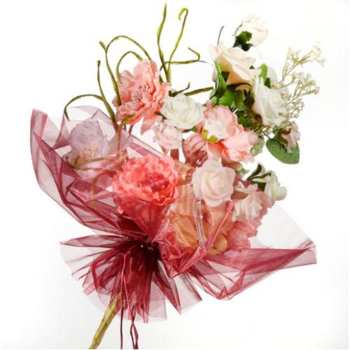 Organza Floral Wrap Burgundy - 40cm x 68cm
