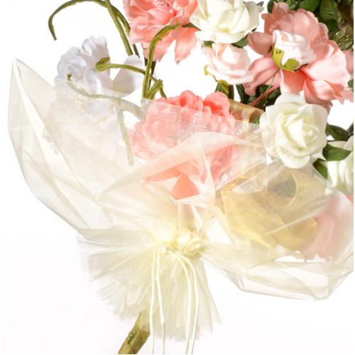 Organza Floral Wrap Ivory - 40cm x 68cm