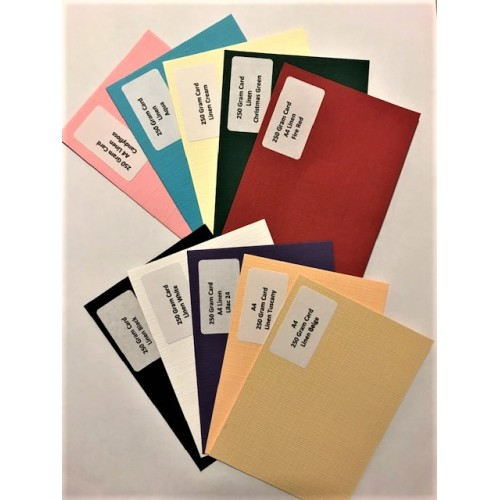 A4 Linen Mixed colours Card Pack 1 - 250gsm 10 Sheets