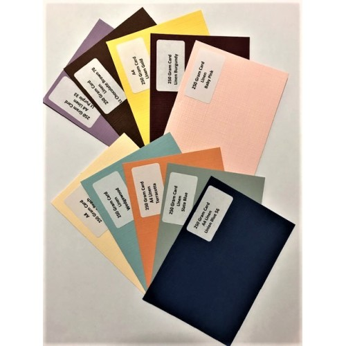 A4 Linen Mixed colours Card Pack 2 - 250gsm 10 Sheets