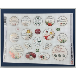 "Craft Creations UK Die-Cut Round Greeting Banners ""Christmas Messages B"""