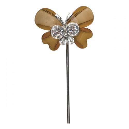Butterfly with Diamante Centre on Stem 25 x 20mm Brown