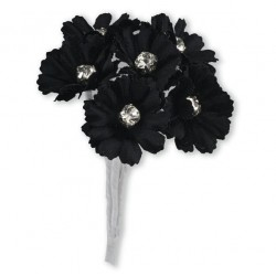 Silk Black Daisy with Diamante - 6 Stems Embellishment