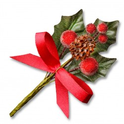 Holly Leaves, Berries/Cone & Ribbon Embellishments