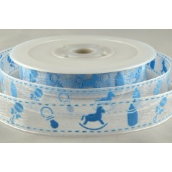 Baby Blue Sheer Baby Design Printed Ribbon - 15mm x 20m