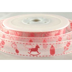 Baby Pink Sheer Baby Design Printed Ribbon - 15mm x 20m