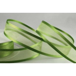 Dark Green Satin Sheer Ribbon - 15mm x 1m