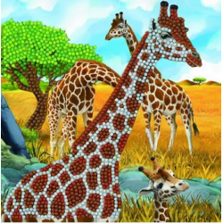 Crystal Card Kit - Gentle Giraffes 18cm x 18cm