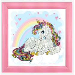 """Unicorn Rainbow"" Crystal Art Frameables Kit with Picture Frame"