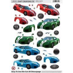 Die Cut Decoupage - Fast Cars