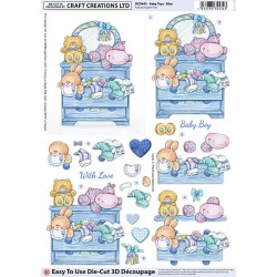 Die Cut Decoupage - Baby Toys Blue