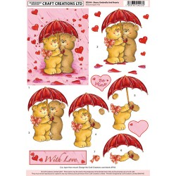 Non Die-Cut Decoupage - Bears Umbrella And Hearts