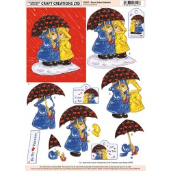 Non Die-Cut Decoupage - Bears Under Umbrella