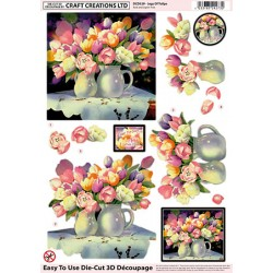 Die Cut Decoupage - Jugs Of Tulips