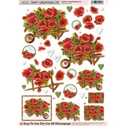 Die Cut Decoupage - Poppy Wheelbarrow