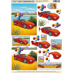 Non Die-Cut Decoupage - Sports Car With Balloons