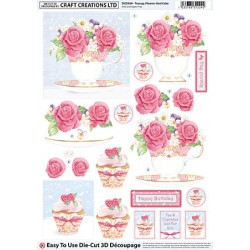 Die Cut Decoupage - Teacup Flowers And Cake