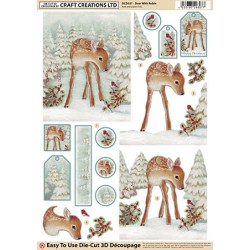Die Cut Decoupage - Deer With Robin