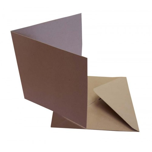 6 x 6 Kraft Cards and Envelopes Pack of 10