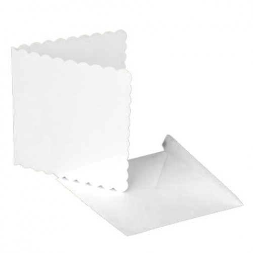 8 x 8 White Scalloped Cards and Envelopes Pack of 5