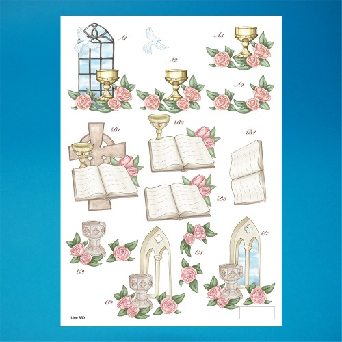 Christening & Roses Die cut Decoupage