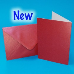 C6 Pearl Red Cards and Matching Envelopes Pack of 5