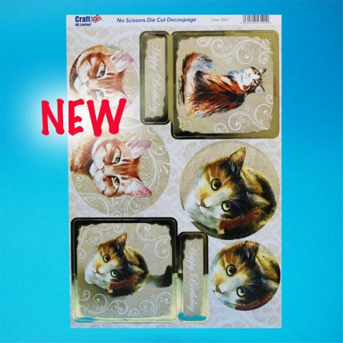 Die Cut Decoupage - Foiled Gold Happy Birthday Cats