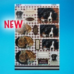 Die Cut Decoupage - Just For You Dogs with Gold Foil Sentiments
