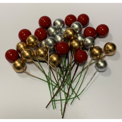 Mixed Christmas Berries - Red, Gold, Silver - Pack of 30