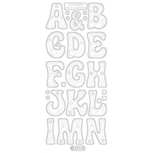 Large Stiched Alphabet Iridescent Peel Off - 2 Sheets