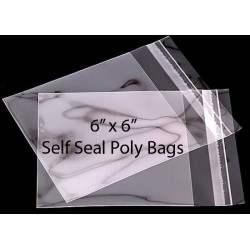 6 x 6 Self Seal Poly Bags Pack of 25