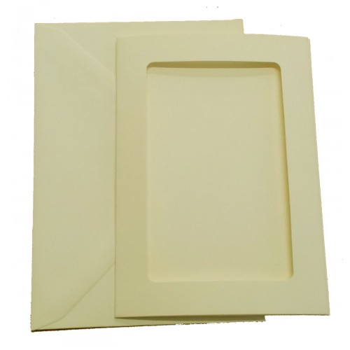 C5 Cream Shimer Rectangle Aperture Cards and Envelopes Pack of 4