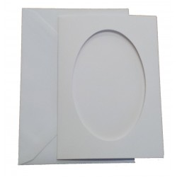 C6 White Oval Aperture Cards and Envelopes Pack of 5