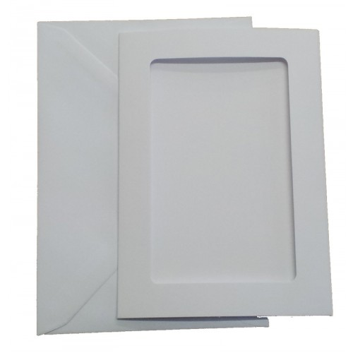C6 White Three Fold Rectangle Aperture Cards and Envelopes Pack of 5