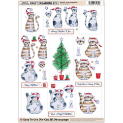 Die Cut Decoupage - Xmas Moggie Mix