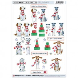 Die Cut Decoupage - Xmas Doggie Mix