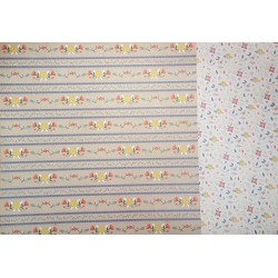 12 x 12 Floral Borders Blue Stripes - Double Sided Backing Paper