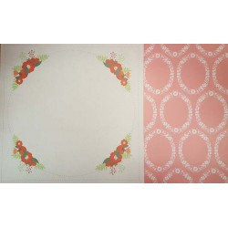 12 x 12 Floral Large Circle Red - Double Sided Backing Paper