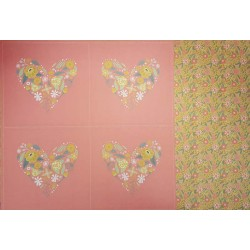 12 x 12 Floral Hearts Pink - Double Sided Backing Paper